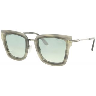 Tom Ford Lara Grey Havana-Silver/Silver Mirror Lens Sunglasses